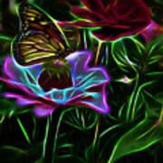 Butterflies And Flowers IIi Art Print