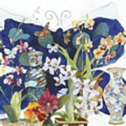 Butterflies And Orchids Art Print