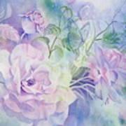 Butterflies-and-roses Art Print