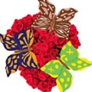Butterflies On Roses Art Print