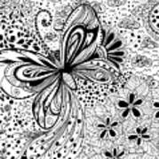 Butterfly And Flowers, Doodles Art Print