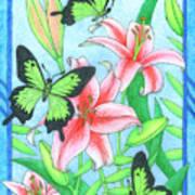 Butterfly Idyll- Lilies Art Print