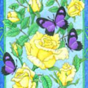 Butterfly Idyll-roses Art Print