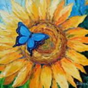 Butterfly On Sunflower Art Print