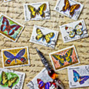 Butterfly Stamps And Old Document Art Print by Garry Gay