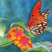 Butterfly With Flower Art Print