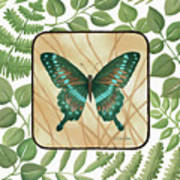 Butterfly With Leaves 2 Art Print