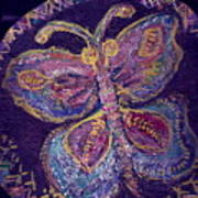 Butterfly With Stitches On Wings Art Print