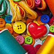 Buttons And Thread Art Print