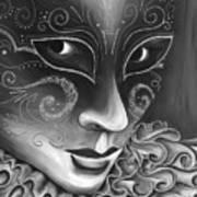 Bw- Carnival Mask Art Print