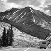 Bw Mobile Home Travel Alaska  Art Print