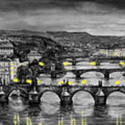 Bw Prague Bridges Art Print