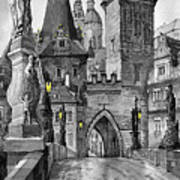 Bw Prague Charles Bridge 02 Art Print by Yuriy  Shevchuk