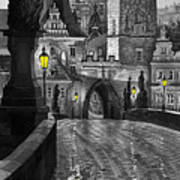 Bw Prague Charles Bridge 03 Art Print by Yuriy  Shevchuk