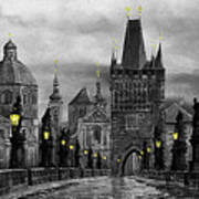 Bw Prague Charles Bridge 04 Art Print