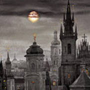 Bw Prague City Of Hundres Spiers Art Print by Yuriy  Shevchuk