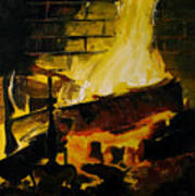 Cabin Fireplace Art Print by Doug Strickland