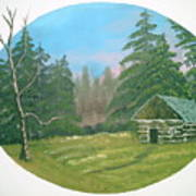 Cabin In The Meadow Art Print