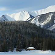 Cabin On Frozen Lake Art Print