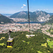 Cable Car Above The City Of Lecco Art Print