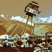 Cable Car Fly - San Francisco Collage Art Print