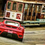 Cable Car Meets Ferrari Art Print