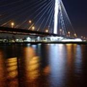 Cable-stayed Bridge Prins Clausbrug In Utrecht At Night 22 Art Print