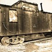 Caboose Black And White Art Print