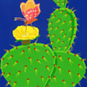 Cactus And Butterfly Art Print