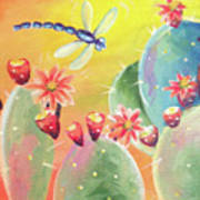 Cactus And Firefly Art Print