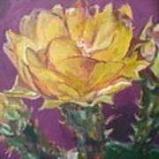 Cactus Blossom On Purple Background Art Print