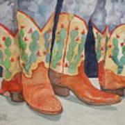 Cactus Boots Art Print