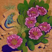 Cactus Flower Lizard Art Print