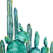 Cactus Watercolor 1 Art Print