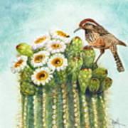 Cactus Wren And Saguaro Art Print