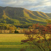 Cades Cove Autumn Sunset In Great Smoky Mountains Art Print