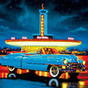 Cadillac Diner Art Print by MGL Studio - Chris Hiett