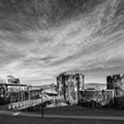 Caerphilly Castle Panorama Mono Art Print
