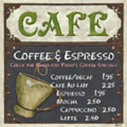 Cafe Chalkboard Art Print