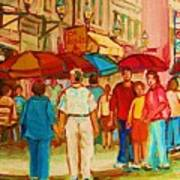 Cafe Crowds Art Print