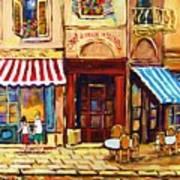 Cafe De Vieux Montreal With Couple Art Print by Carole Spandau