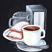 Cafe Du Monde On Black Art Print