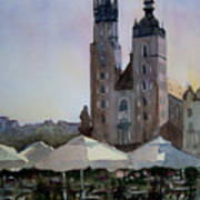 Cafe In Main Square Krakow Art Print