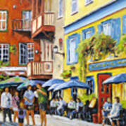Cafe In The Old Quebec Art Print