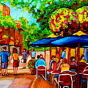 Cafe On Prince Arthur  In Montreal  Art Print