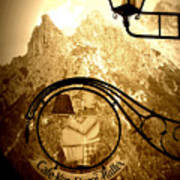 Cafe Sign In Bavarian Alps Art Print