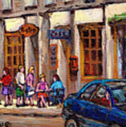 Outdoor Cafe Painting Vieux Montreal City Scenes Best Original Old Montreal Quebec Art Art Print