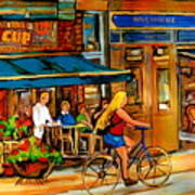 Cafes With Blue Awnings Art Print