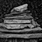 Cairns Rock Trail Marker Bluff Utah 01 Bw Art Print