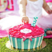 Cake Smash Pink Cake With Blue And White Stripes Art Print